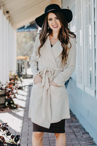 Woven Tie Jacket | Taupe