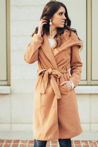 London Hooded Peacoat | Camel