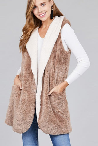 Faux Fur Hooded Vest | Taupe