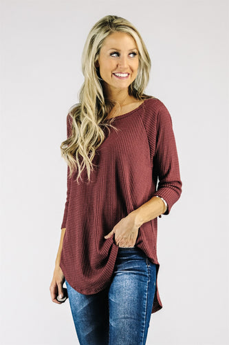 Waffle Tunic 3/4 Sleeves |  Many Colors