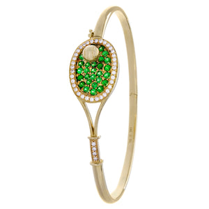 18A Tennis Racket Bracelet - Tsavorite/Diamonds - #30