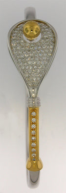 18B Tennis Racket Bracelet - Diamonds Antique Design - #32