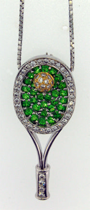 46 Tennis Racket Pendant Tsavorite- Diamonds - #113
