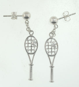 03D Tennis Rackets Earrings - CZ - #172EC