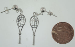 03B Tennis Racket Earrings - Silver 1 CZ - #172E