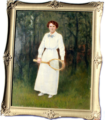 Lady in White Flair Handle Racket