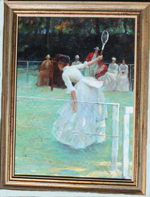 Lady Plays Tennis Oil Original