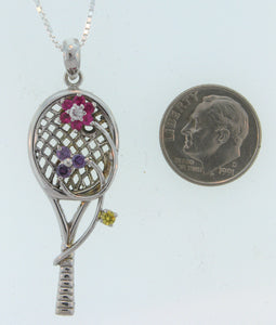 15B Tennis Racket Pendant Floral Design - #92