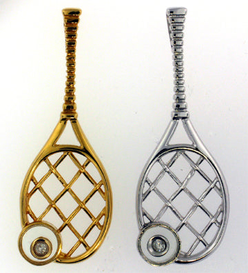 08 Tennis Racket Pendant - Racket with Moving Diamond - #127A