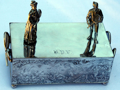 Silver Plated Box with Tennis Players