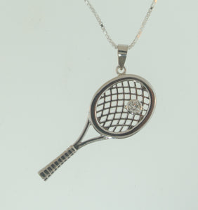 05 Tennis Racket Pendant - Gold Plated - #187B