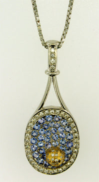 48 Tennis Racket Pendant Tanzanite - Diamonds - #118