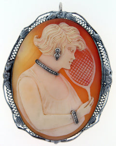 TENNIS CAMEO BROOCHES/PENDANTS