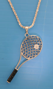 05B SLANTED TENNIS RACKET PENDANT WITH ONYX HANDLE - #187SO