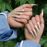 Metallic gold nails, acrylic nails, I Scream Nails