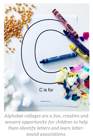 C is for crayon, confetti, cotton balls