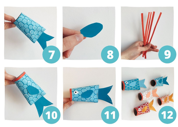 steps to make toilet paper fish