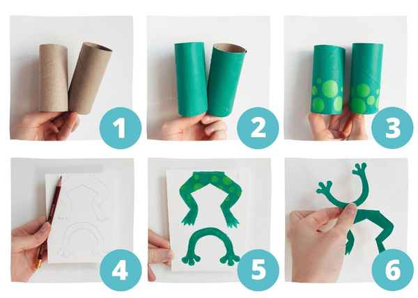 steps to make a toilet paper frog