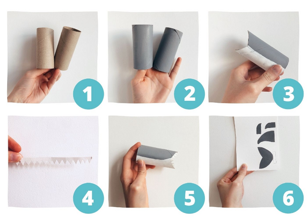 steps to make a toilet paper shark