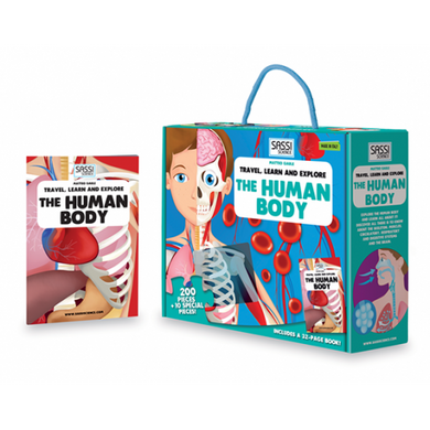 Sassi Travel, Learn and Explore - Puzzle and Book Set - The Human Body, 205 pcs
