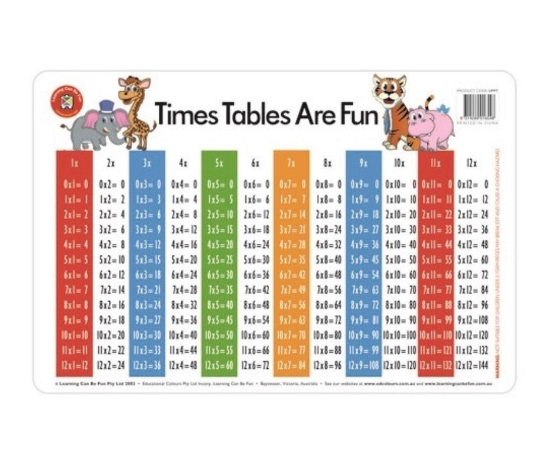 Times Tables Practise Placemat