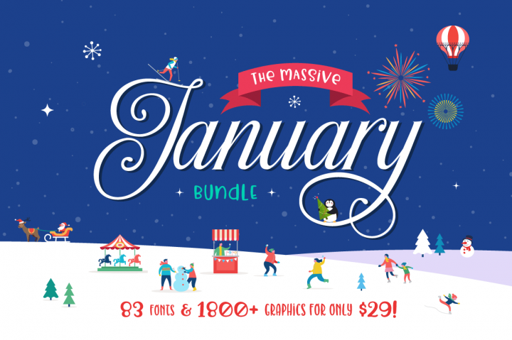 The Massive January Bundle from Hungryjpeg!