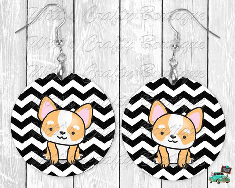 Kawaii Corgi on Black and White Chevron Print Round Earrings