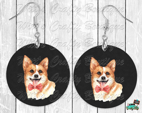 Corgi With or Without Bowtie on Black Leather Print Round Earrings