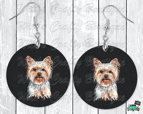 Yorkshire Terrier on Black Leather Print Round Earrings