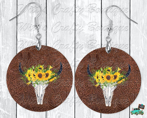 Sunflowers and Cow Skull On Brown Leather Print Round Earrings