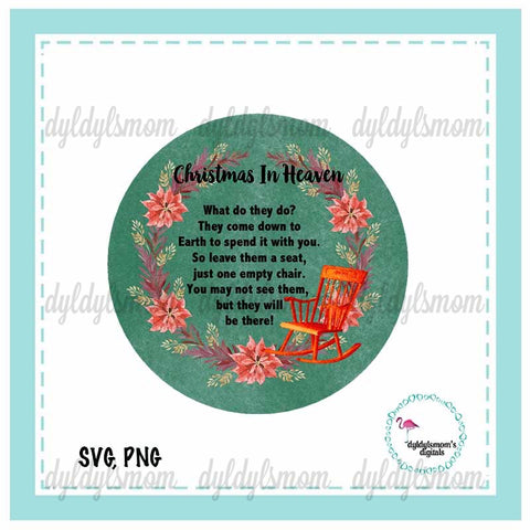 Christmas In Heaven Chair Christmas Ornament Sublimation Design