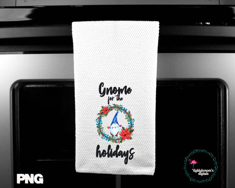 Gnome For The Holidays Sublimation Design for Kitchen Towels, Pillows and More!