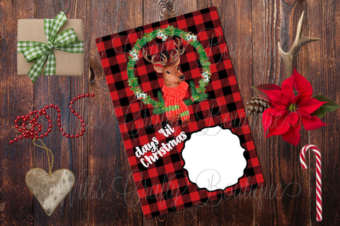 Days 'til Christmas Deer Sign on Buffalo Plaid