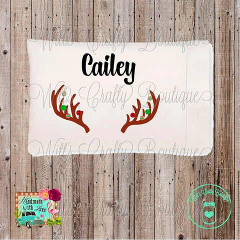 Christmas Reindeer Antler Ornaments Personalized Pillowcase