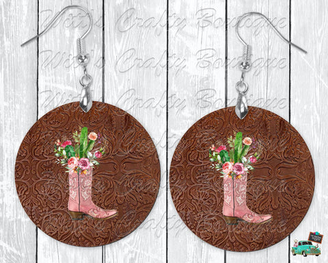 Leather Background with Pink Boot and Cactus Circle Earrings