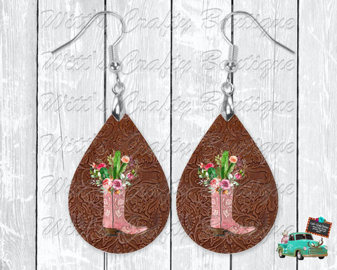 Leather Background with Pink Boot and Cactus Design Teardrop Earrings