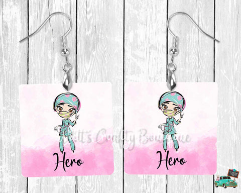 Medical Worker With Mask Hero Square Earrings