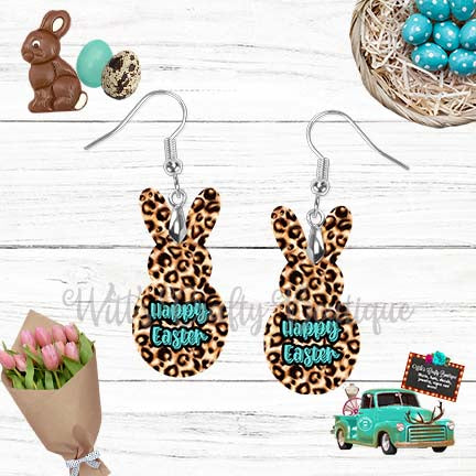 Light Leopard Print and Teal Happy Easter Peep Rabbit Shaped Earrings