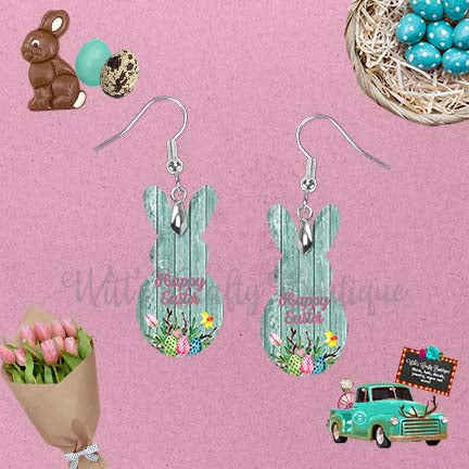 Mint Wood With Flowers Happy Easter Peep Rabbit Shaped Earrings