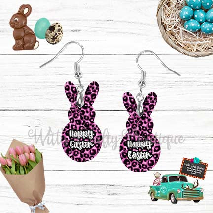 Pink Leopard Print Happy Easter Peep Rabbit Shaped Earrings