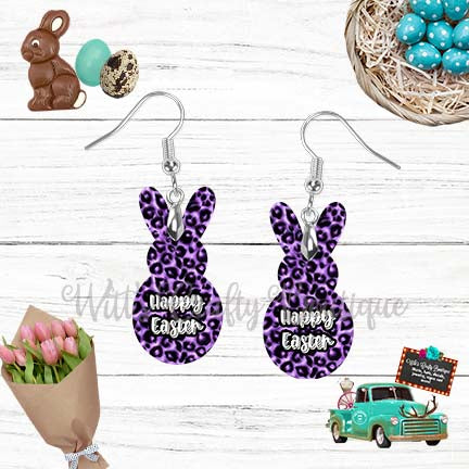 Purple Leopard Print Happy Easter Peep Rabbit Shaped Earrings