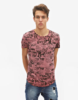T-Shirt rosa con stampa
