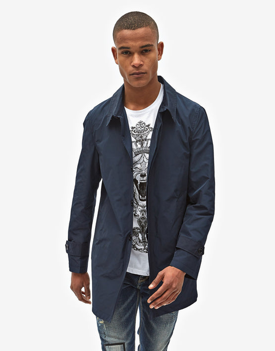 Cappotto trench blu navy