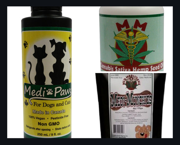 BUNDLE DEAL 2- 12oz  Bottles MediPaws, 1 Bag of MediMunchies Pet Treats and 2 Bottles of Seed Oil Capsules