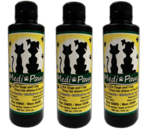 4 Bottles MediPaws Plant Based Essential Fatty Acids & Nutritional Yeast Pawsitively Perfect!  Four 9 fl oz bottles