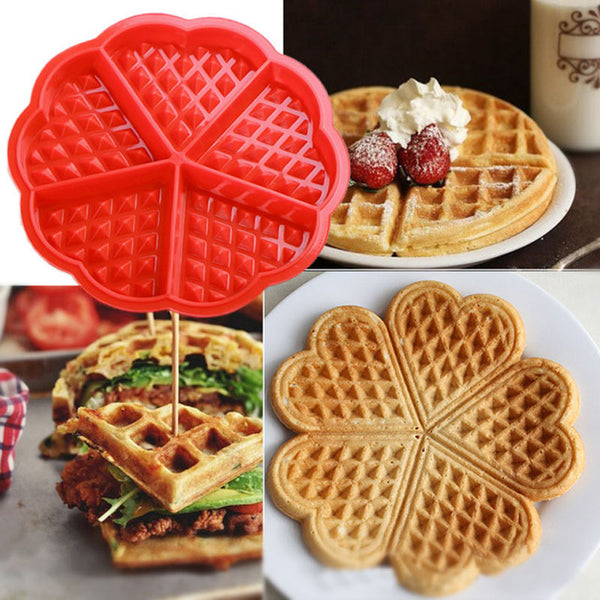 DIY Heart Shape Waffle Mold 5-Cavity/4-Hold Silicone Oven Pan Baking Cookie Cake Muffin Cooking Tools Kitchen Accessories Supply