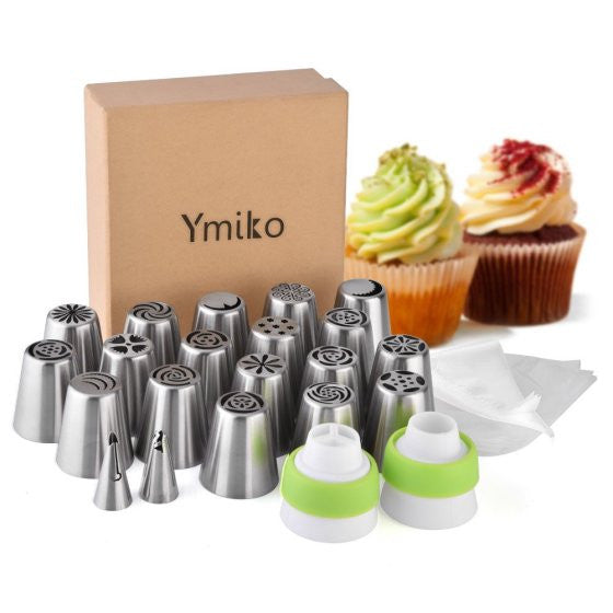 20 PCS Cake Decoration Tips Cake Cupcake Decorating Supplies Ymiko Russian Nozzles Piping Tips with 20 Disposable Piping Bags+ 2C
