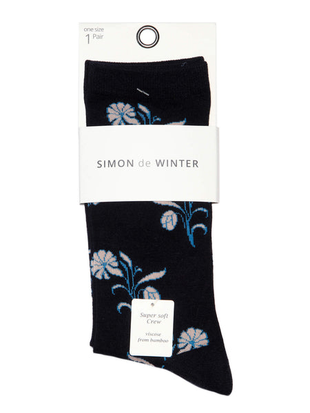 Ladies Supersoft Floral Crew Sock