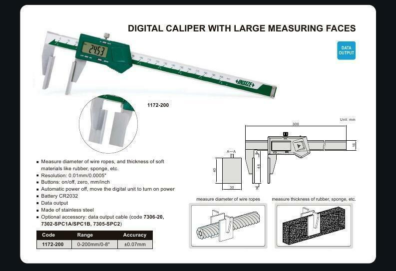 "Insize 1172-200 <Br> 0 - 200Mm/0 - 8"" Digital Caliper With Large Measuring Faces"