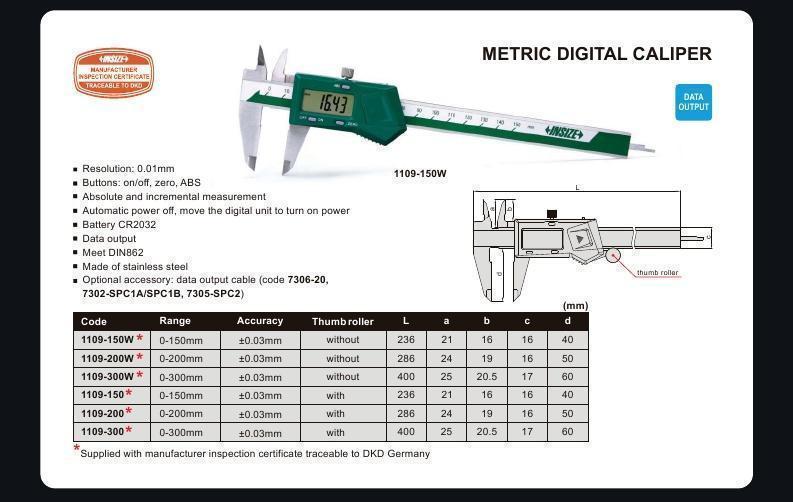 DIGITAL CALIPER - INSIZE 1109-200 0-200mm